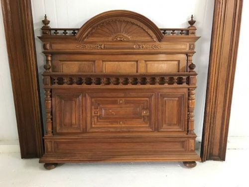 Impressive Antique French Walnut Bed - hc722